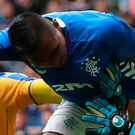 Head boy: Alfredo Morelos opens the scoring at Ibrox
