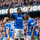 Floodgates open: Rangers' Lassana Coulibaly celebrates scoring his side's first goal of the game