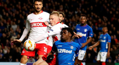 Kept at bay: Ovie Ejaria is crowded out inside the Spartak penalty