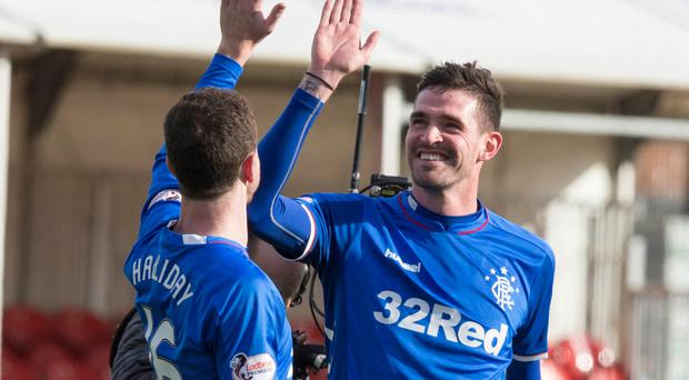 Kyle Lafferty celebrates his goal with Andy Halliday