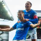 Great stuff: Borna Barisic celebrates his free-kick with James Tavernier