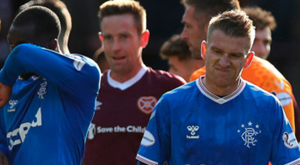 No joy: Steven Davis shows his frustration at the full-time whistle