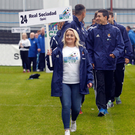 Players from Real Sociedad in Spain at the Opening Ceremony and Parade at Coleraine Showgrounds