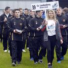 High hopes: Londonderry players take part in last night's parade