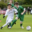 Making ground: Fermanagh's Conor Love holds off Jacob Silva