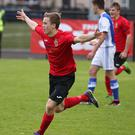 Man for the big occasion: Co Antrim's Daniel Reynolds celebrates after netting the winner against Real Sociedad