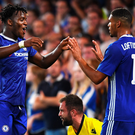Finishing touch: Michy Batshuayi (left) celebrates scoring Chelsea's third goal, and his second, against Bristol Rovers at Stamford Bridge last night with Ruben Loftus-Cheek