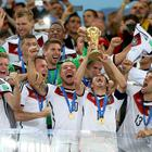 Germany captain Philipp Lahm lifts World Cup in Brazil last year.
