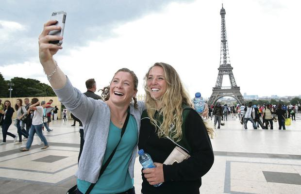 Down time: Ireland players Grace Davitt and Ashleigh Baxter soak up the sights of Paris