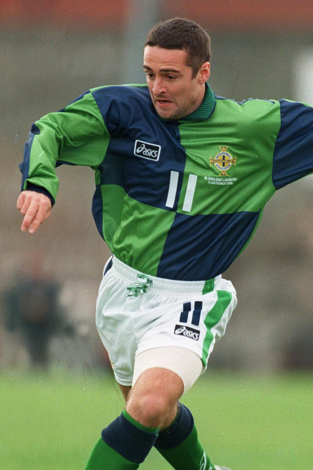 What a night: Michael Hughes is hoping Northern Ireland are celebrating in Germany tonight just like he was 24 years ago