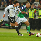 Cool customer: Josh Magennis admits he got very little change out of Germany's defensive colossus Mats Hummels