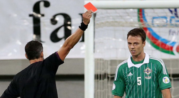 Red raw: Jonny Evans was sent off the last time Northern Ireland faced Azerbaijan