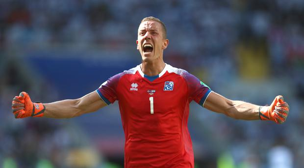 Iceland goalkeeper Hannes Thor Halldorsson celebrates his sides first goal of the match