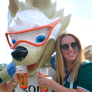 All smiles: A Mexican fan with Zabivaka the mascot