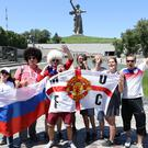 England fans prepare for their first game in Volgograd (Owen Humphreys/PA)