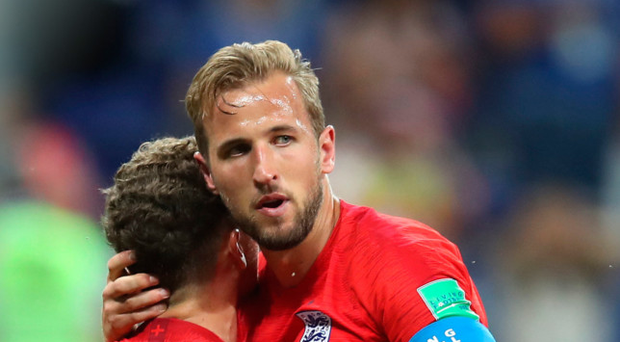 Club class: Kieran Trippier hails Spurs team mate Harry Kane after his double helped England to a win over Tunisia on Monday
