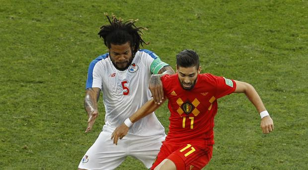 Panama's Roman Torres, left, will hope to lead his side ot victory against England (Victor R. Caivano/AP)