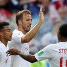 Harry Kane celebrates his hat-trick goal against Panama (Owen Humphreys/PA)