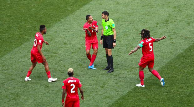 Panama players appeal to the referee after being hit hard by England (Tim Goode/PA)
