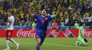 Radamel Falcao celebrates his goal (Frank Augstein/AP)