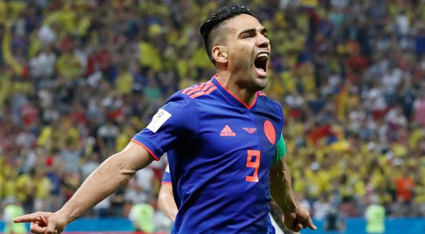 On target: Radamel Falcao scored for Colombia