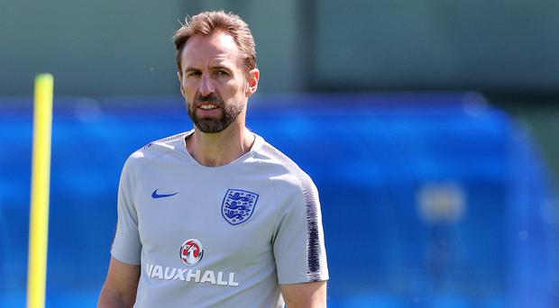 England manager Gareth Southgate during the training session at Spartak Zelenogorsk Stadium (Owen Humphreys/PA)