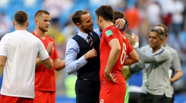 England manager Gareth Southgate (centre) paid tribute to his whole squad after they reached the semi-finals of the World Cup. (Tim Goode/PA Images)