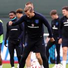 England's Harry Kane during the training session at the Spartak Zelenogorsk Stadium.