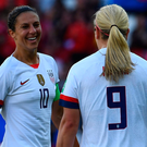 Historic moment: United States forward Carli Lloyd celebrates breaking the deadlock