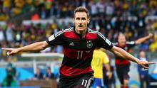 Record breaker: Miroslav Klose hits Germany's second goal to become the highest scorer in World Cup finals history