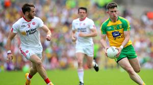 Tyrone's Ronan McNamee and Patrick McBrearty of Donegal