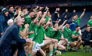 Champions: Limerick celebrate after the game with the trophy at Croke Park