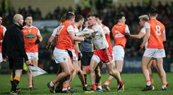 Old rivals: Tempers flare in last year's McKenna Cup final between Armagh and Tyrone
