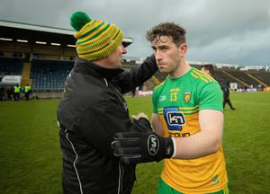 Final salute: Declan Bonner and Paddy McBrearty after Saturday's win over Armagh