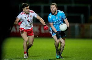 New direction: star man Jack McCaffrey, pictured in pre-lockdown clash wth Tyrone, has walked away from the Dublin panel