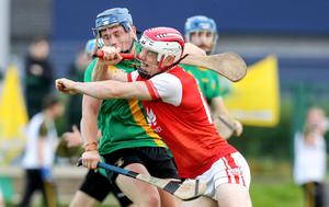 There was no sign of social distancing as Thomas Davis's David Keogh locked horns with Con O'Callaghan of Cuala