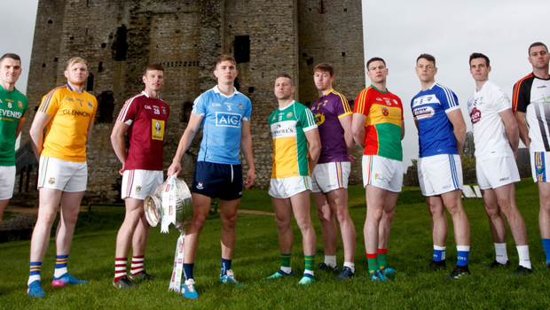 Game faces: Pictured at the launch of the Leinster Football Championship at Trim Castle, Co Meath were (l-r) Meath's Bryan Menton, Longford's Paddy Collum, Westmeath's John Heslin, Dublin's Michael Fitzsimons, Offaly's Anton Sullivan, Wexford's Naomhan Rossiter, Carlow's John Murphy, Laois' John O'Loughlin, Kildare's Eoin Doyle, Wicklow's Seanie Furlong and Louth's Andy McDonnell