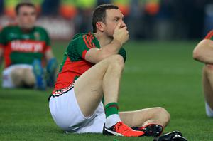 Stunned: Mayo's Colm Boyle after last year's final in which he scored an own goal
