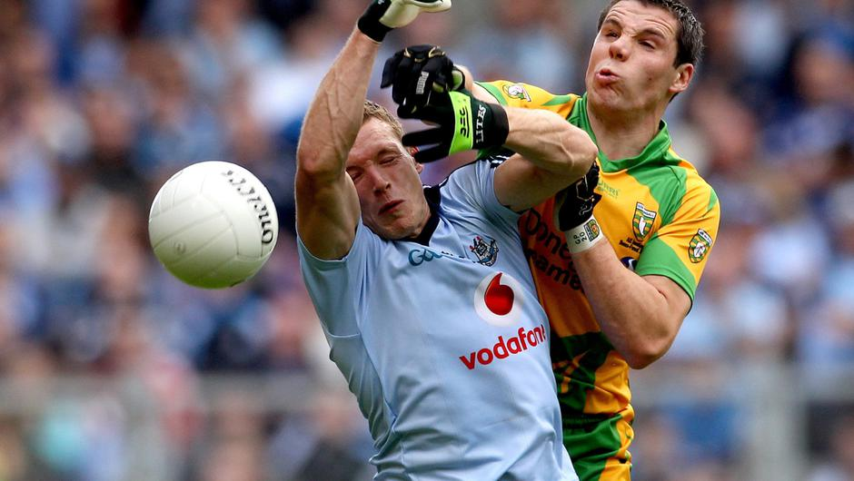Paul Flynn and Donegal's Kevin Cassidy in the semi