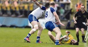 Hard hitting: Ryan McHugh goes down under a challenge, now his father, former Donegal star Martin, wants action taken before serious injuries occur