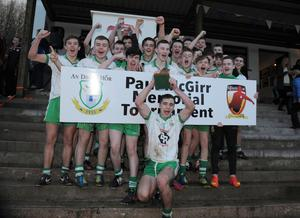 Up for cup: Burren celebrate winning the Paul McGirr Memorial Cup at Gardrum Park yesterday