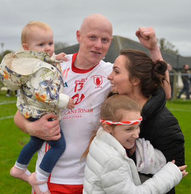 Family guy: Paddy Cunningham with his wife Claire and children Aoife and Aimee
