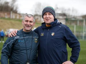 In charge: Antrim manager Darren Gleeson (right) with Liam Sheedy