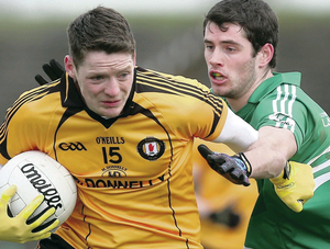 Dangerman: Ulster's Conor McManus takes on Leinster's Donal Keogan in yesterday's inter-pro  semi-final at Pairc Tailteann