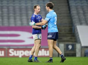 Face to face: Cavan's Martin Reilly and Michael Fitzsimons of Dublin
