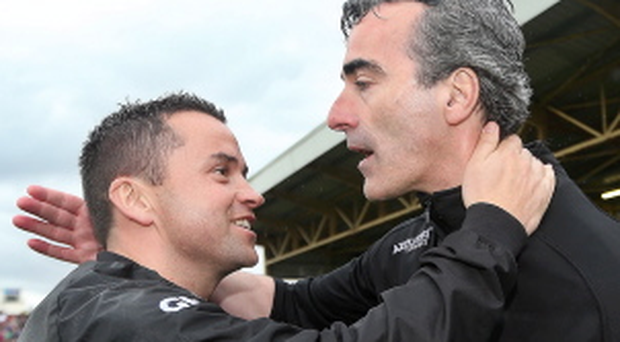 Ulster Minor Football Championship Quarter-Final 26/5/2013 Donegal Selector Maxi Curran and manager Jim McGuinness celebrate Mandatory Credit ©INPHO/James Crombie