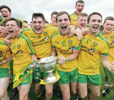 Silver lining: The Donegal minors team celebrate with the Fr Murray Cup at Clones