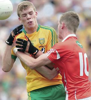 Key role: Niall Harley in midfield for Donegal against Dublin