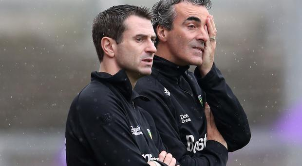New regime: Rory Gallagher (left) has stepped into the Donegal hotseat vacated by Jim McGuinness