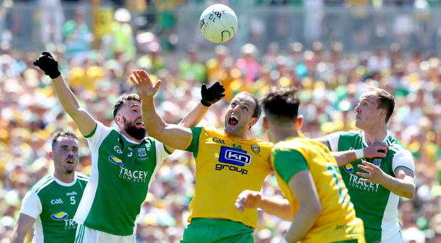 On fire: The current form of Michael Murphy (centre) is one of the reasons why Donegal are among the favourites to win the Ulster title